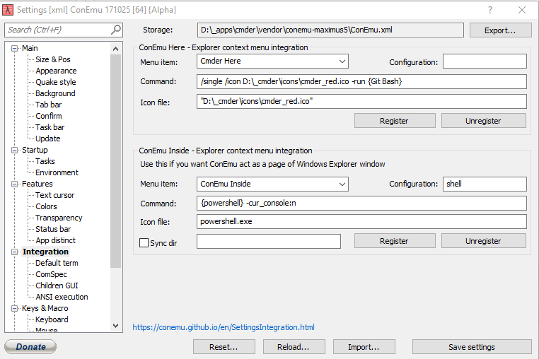 Cmder Settings for integration